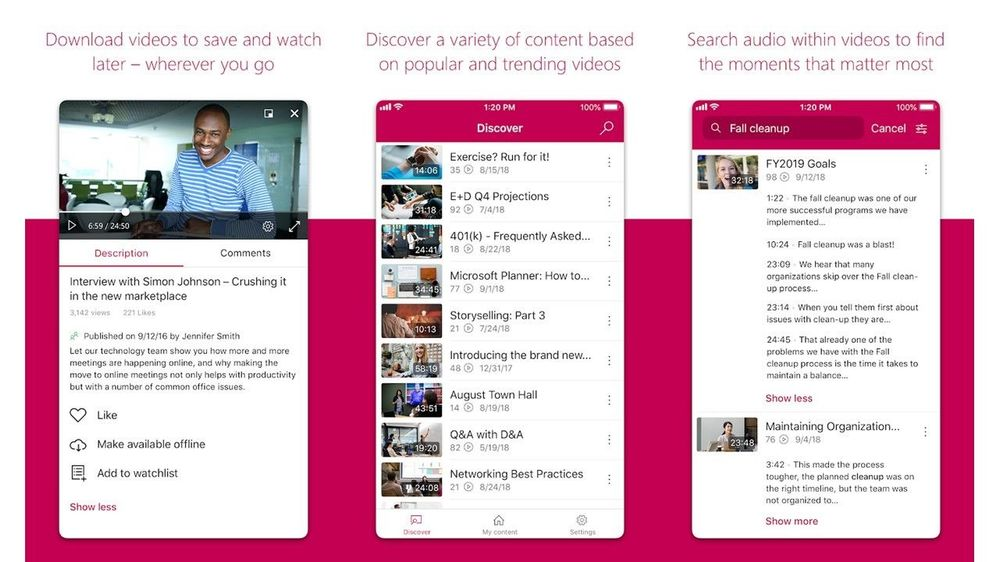The Microsoft Stream mobile app allows you to find and engage with videos, watch videos offline, and share.