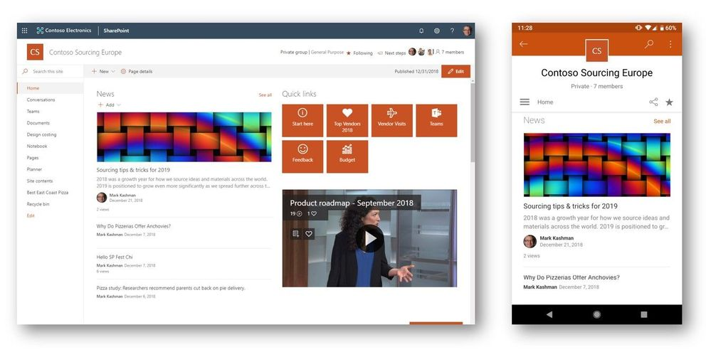 Office 365 group-connected team site logo themes (left) appear correct in SharePoint home and in SharePoint mobile app (right).