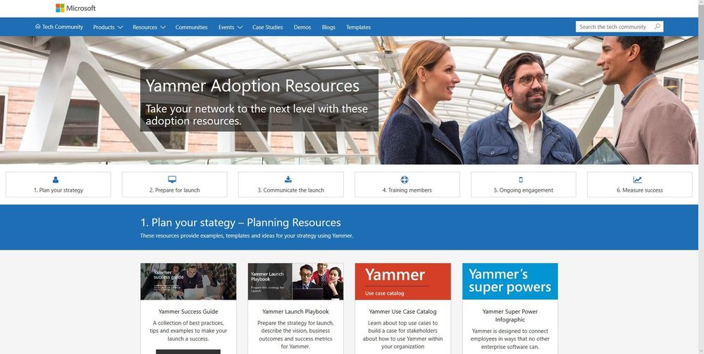 The home page of the updated Yammer Adoption Resources website.
