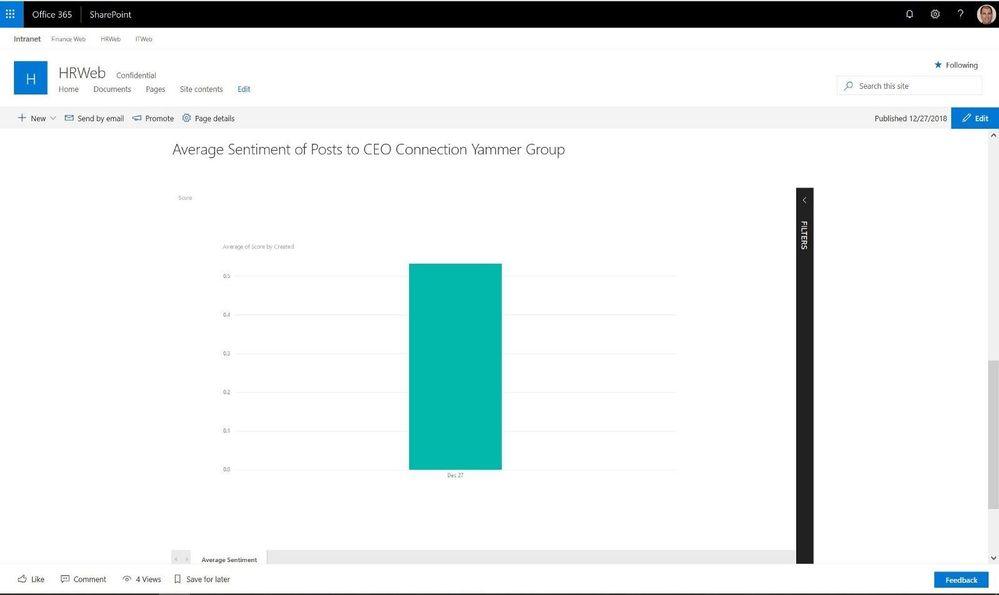 Power BI Report Embedded in HR Communication Site