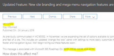 MegaMenu office 365 message.PNG