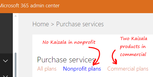 Kaizala avaialability in purchase services