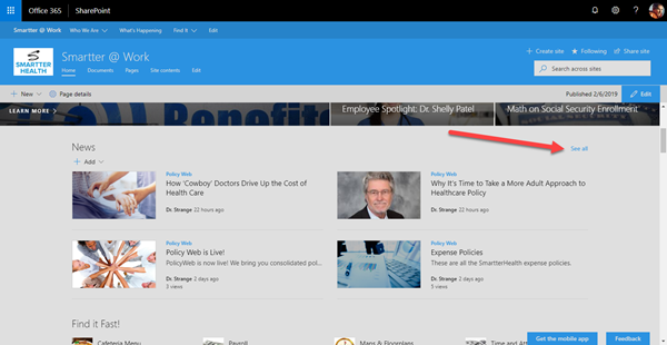 Navigating to SharePoint News in your site.