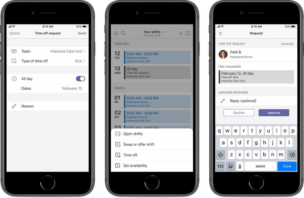 Create and distribute schedules to your health team. Easily review your schedule, and day and shift notes, directly from your mobile device