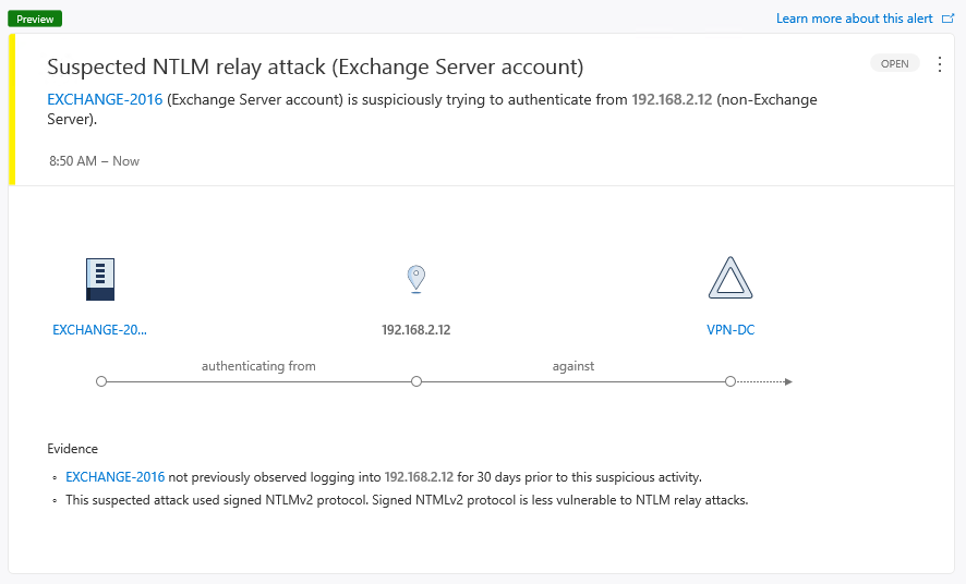 Figure 2 - Low severity Azure ATP alert detecting suspicious use of signed or sealed NTLMv2 against non-Exchange servers