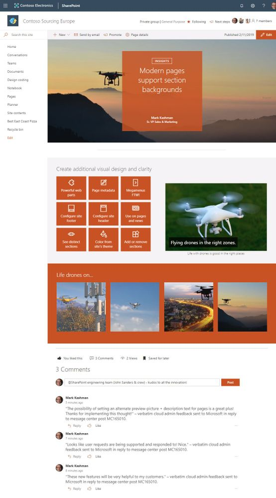 Modern SharePoint pages (and news) section backgrounds make it easier to see the distinct sections and adds visual variety throughout the page.