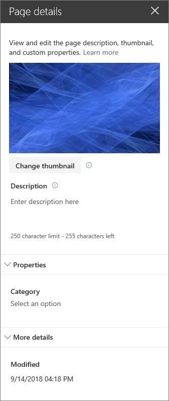 You can view and edit the properties of a SharePoint page in the Page details pane.