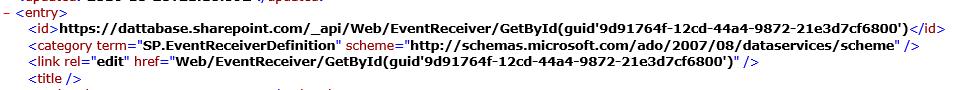 Event Receiver Invalid URI