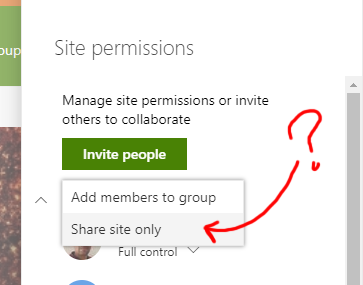 UI makes it clear that we are adding members to share site only