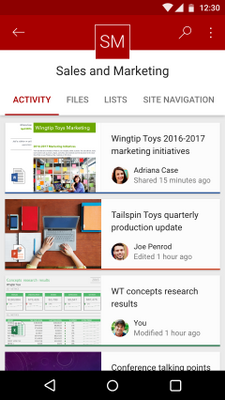Site activities from SharePoint Online team site