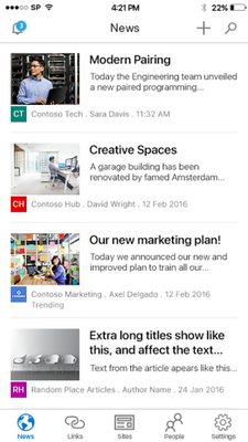 Personalized News tab in iOS