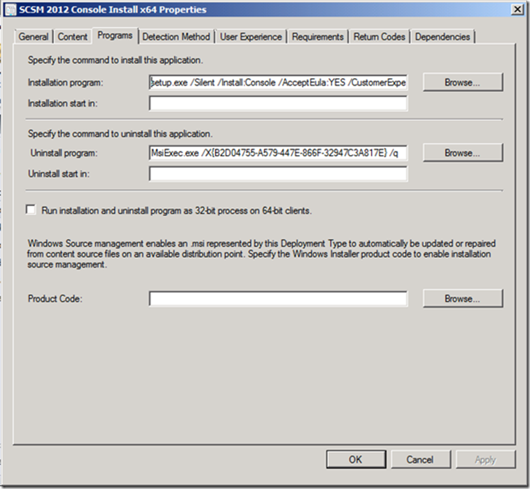 Service Manager Console Installation via Configuration Manager