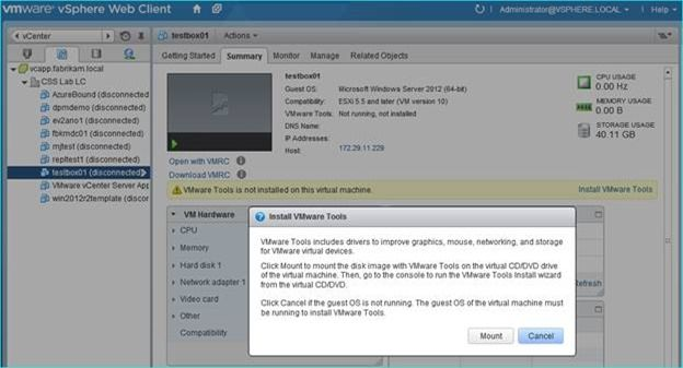 Implementing Microsoft DPM host level protection of VMware