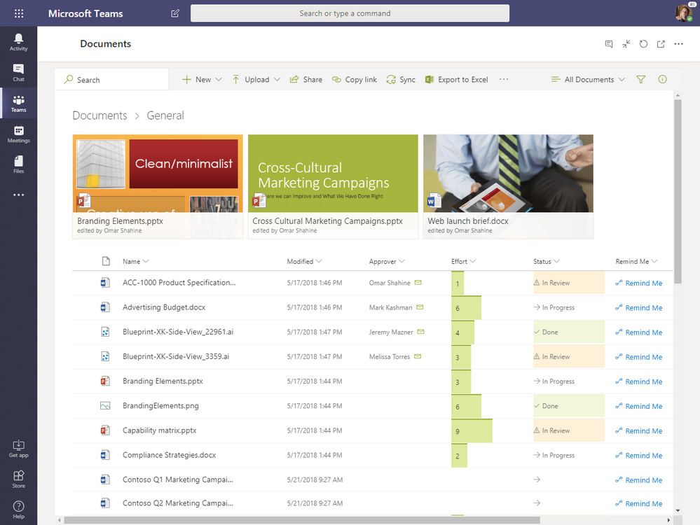 The new Files experience in MS Teams powered by SharePoint (showing column formatting)