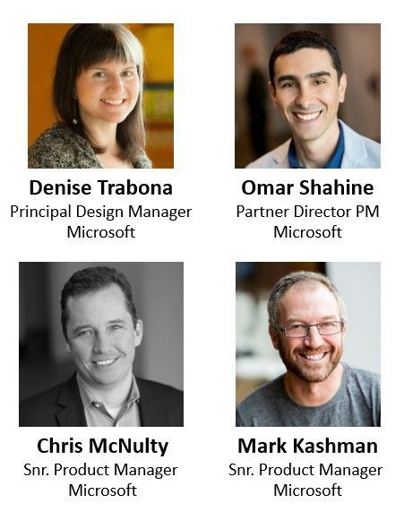 Left to right, top to bottom: Denise Trabona – principal design manager (Microsoft) [guest], Omar Shahine – partner director of program management (Microsoft) [guest], Chris McNulty – senior product manager (SharePoint/Microsoft) [co-host], and Mark Kashman – senior product manager (SharePoint/Microsoft) [co-host].