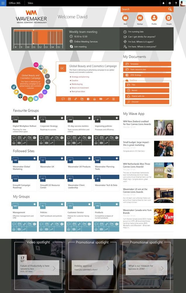 """Wavemaker's """"Work Hub"""" intranet portal powered by SharePoint in Office 365 and AddIn365."""