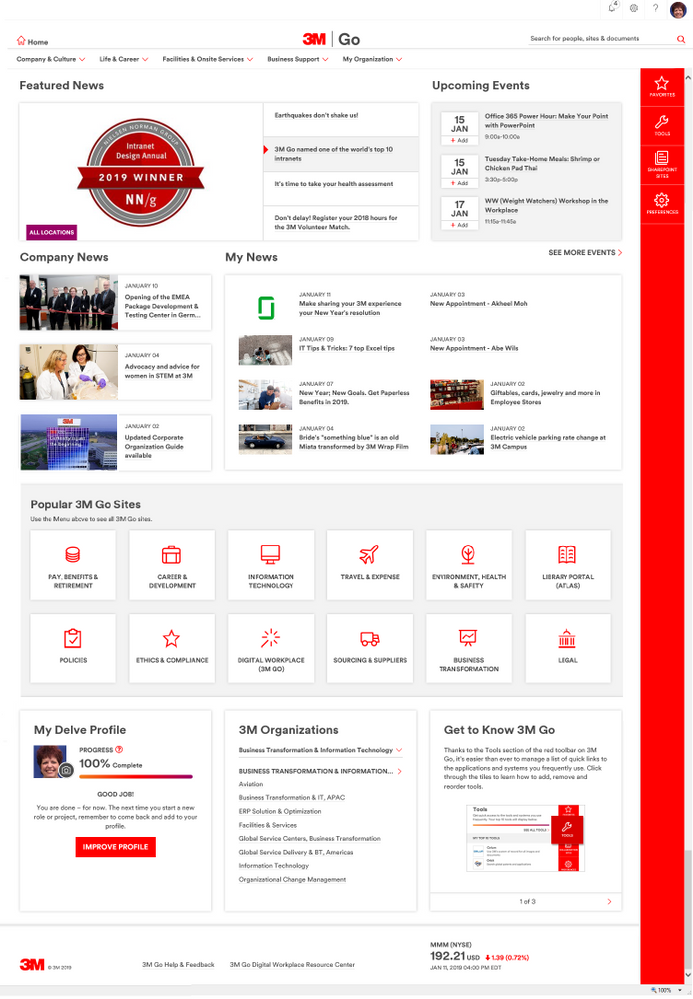 """3M's """"3M Go"""" company intranet. The Nielsen Norman Group named 3M Go as one of the top ten intranets in their 2019 report."""