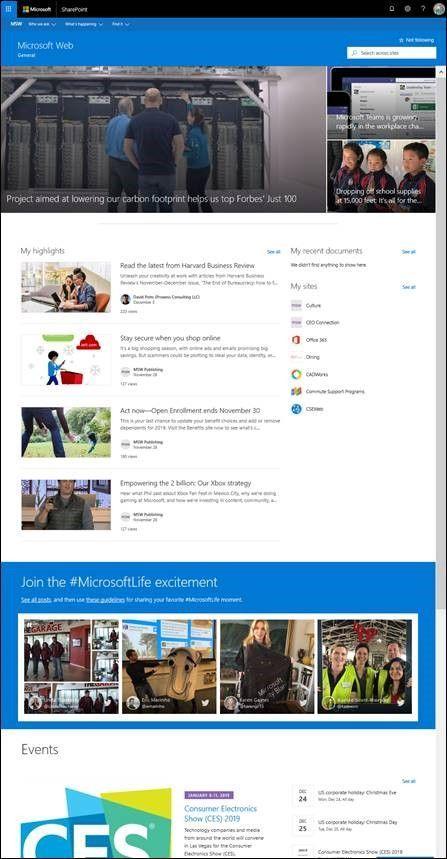 "Microsoft's own ""MSW"" company intranet portal."