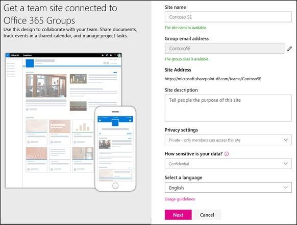 Create your team site in seconds, give it a name, establish the connected Office 365 group, site classification and preferred language.