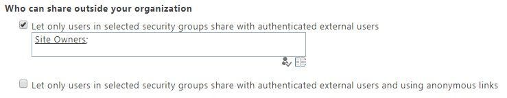 You can manage who can send sharing invitations to external users by limiting such sharing to members of a specified security group.