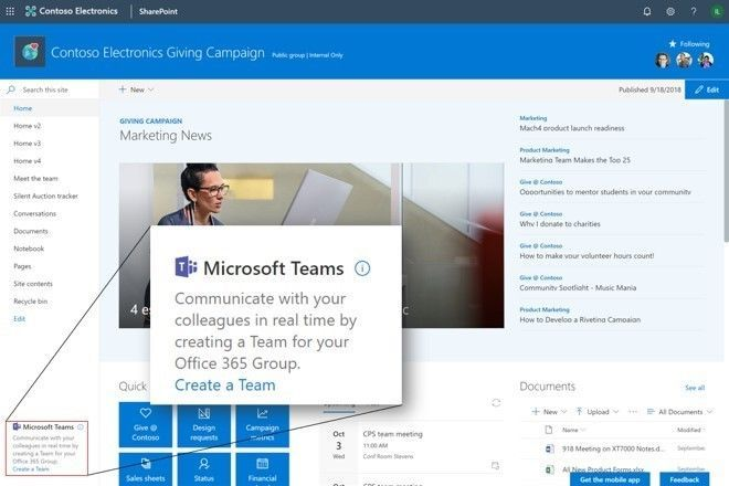 Create a Microsoft Teams team that integrates with your SharePoint team site.