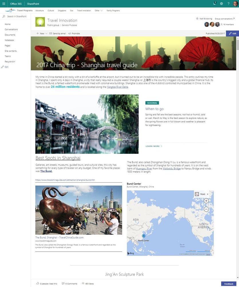 A content-rich SharePoint team news article publish into a group-connected team site that is associated to a hub site.