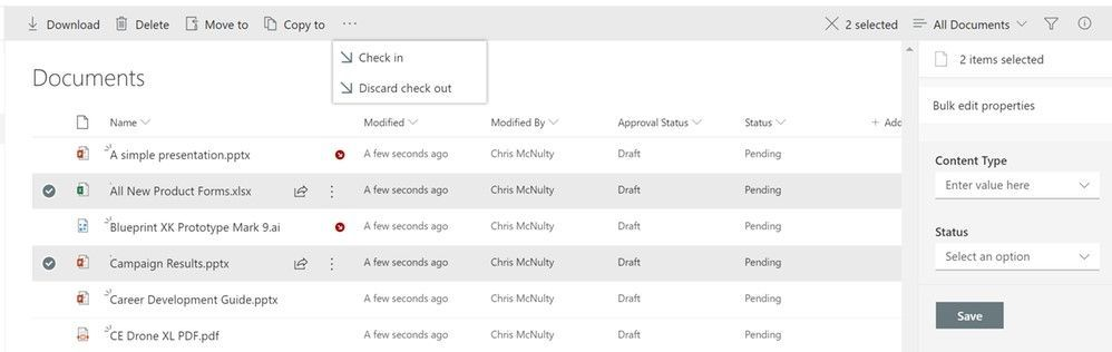 Bulk check-in / check-out within a SharePoint document library.