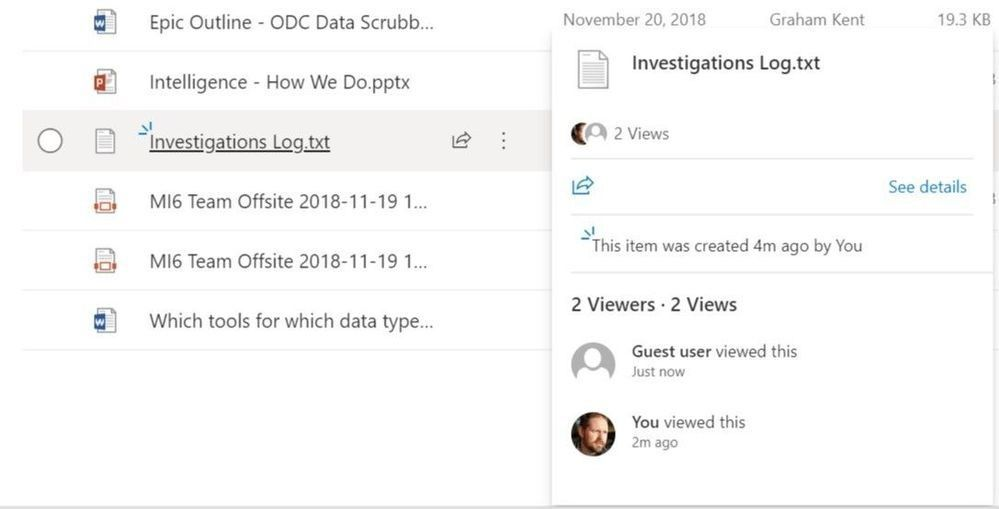 Hover over a file name in a SharePoint document library or OneDrive folder to see more about the file: views, activities, and signals.