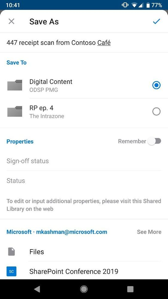 Choose both location and metadata to your file as you save a scan from the OneDrive mobile app.