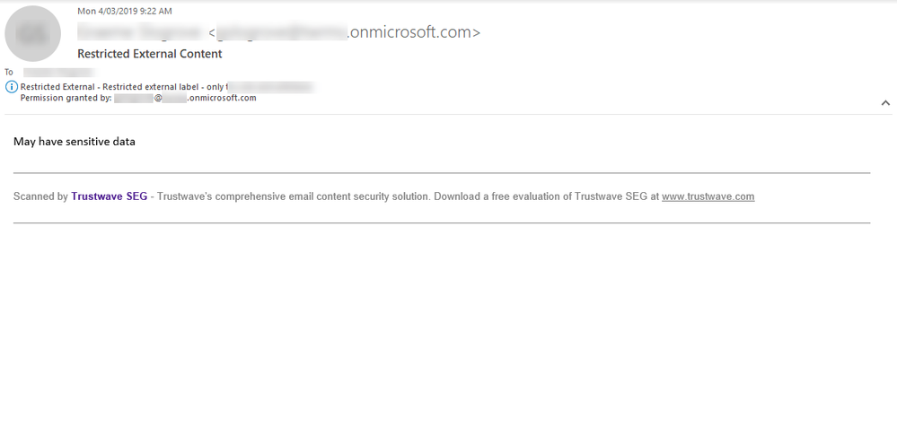 An MIP email reasoned upon by Trustwave's Secure Email Gateway