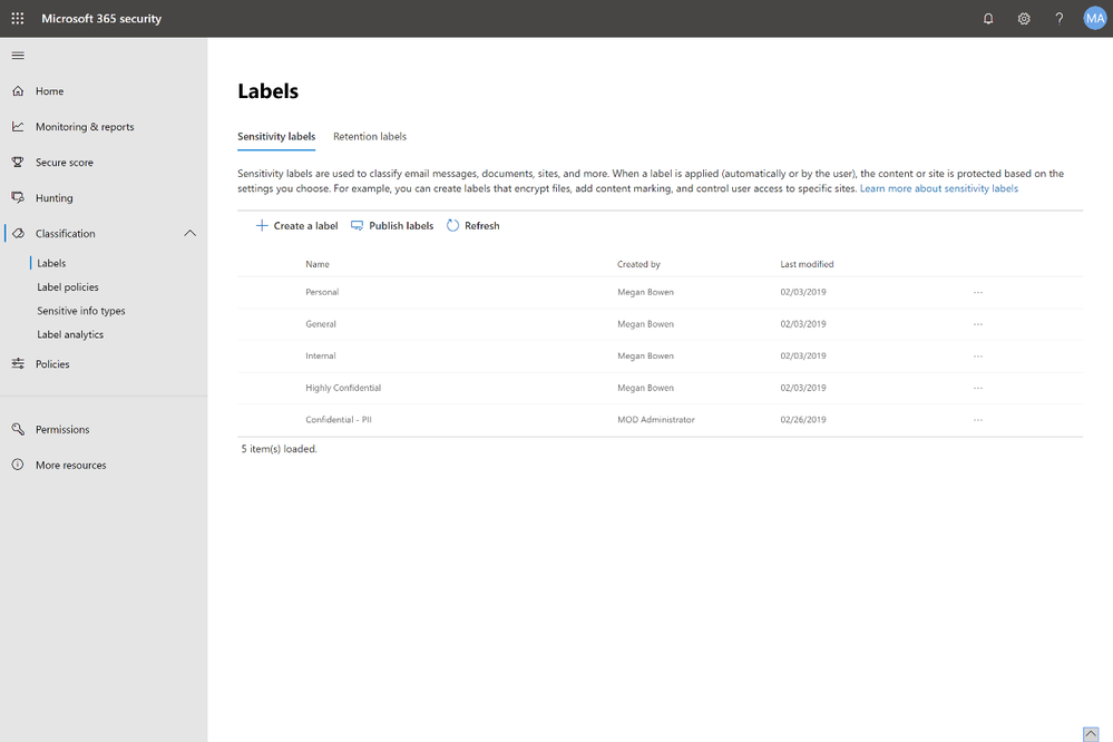 The new Microsoft 365 security center and compliance center (rolling out now) provides a centralized workspace to manage your Microsoft 365 security and compliance solutions, including management of your sensitivity labels and retention labels.