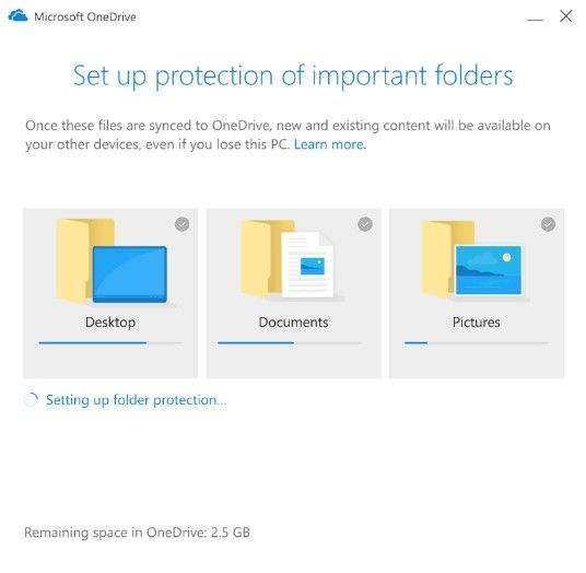User content is automatically synced with no disruption to productivity when moving content from the Desktop, Documents, and Pictures folders to OneDrive.