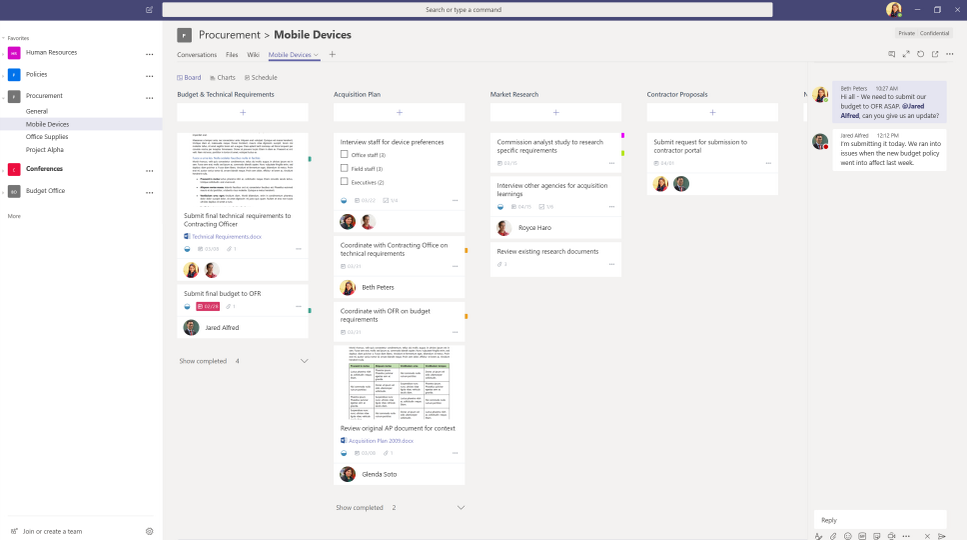 Organize teamwork with the Planner tab in Teams