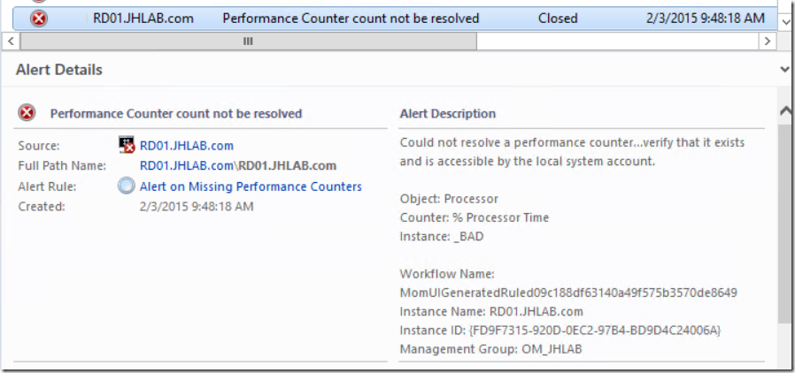 Alerting when performance counters cannot be resolved by SCOM