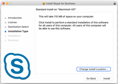 Installation Type page of Skype for Business installer