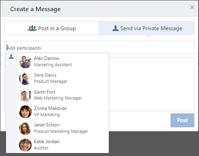 Streamlined messaging experience in Yammer