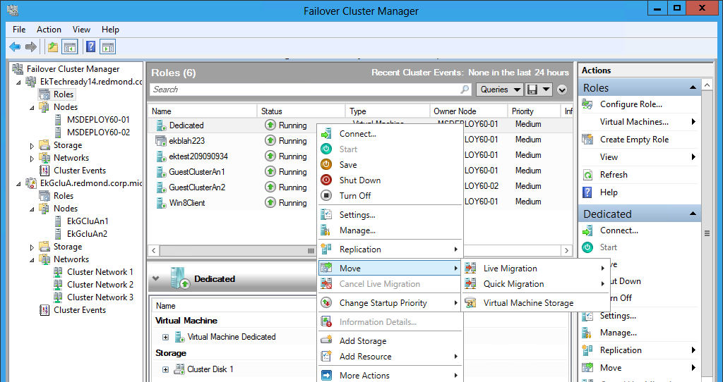 Windows Server 2012 Storage Migration for Cluster Managed Virtual Machines