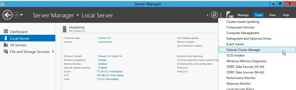 Creating a Windows Server 2012 Failover Cluster