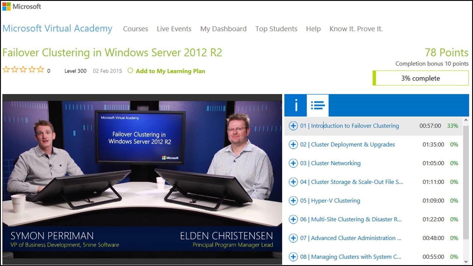 Microsoft Virtual Academy – Learn Failover Clustering & Hyper-V