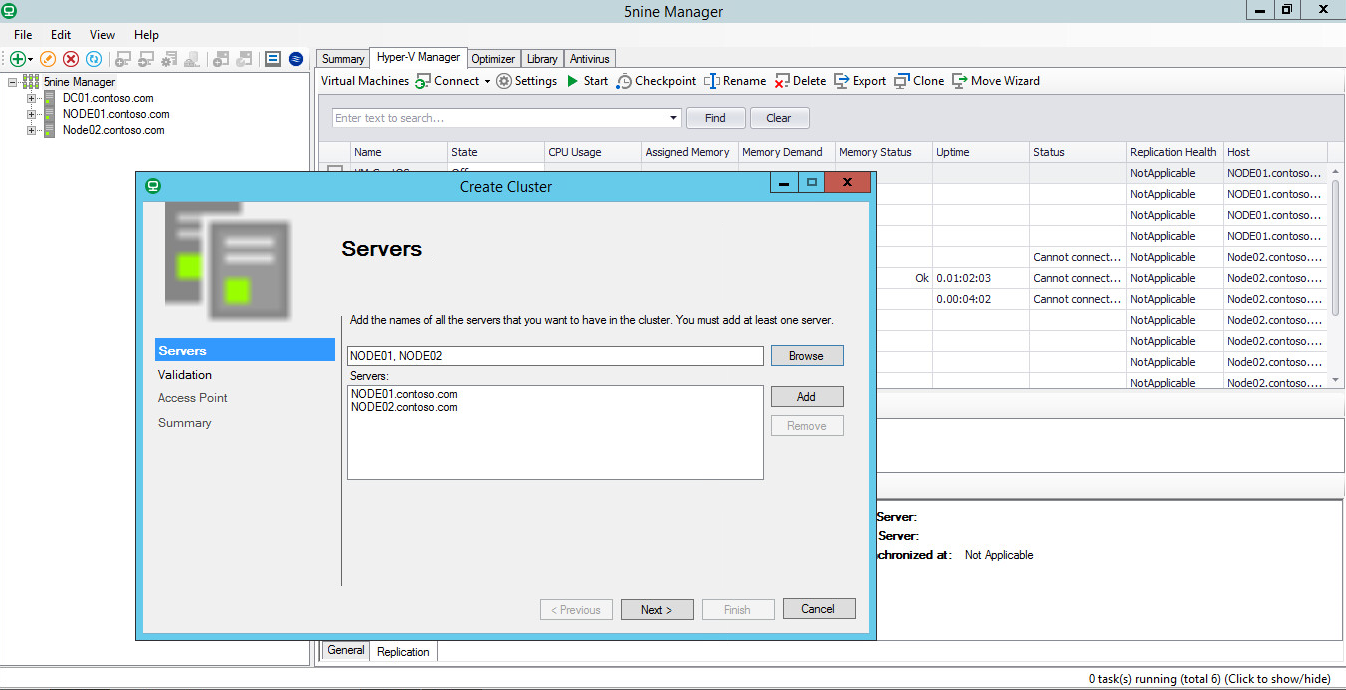 Managing Failover Clusters with 5nine Manager