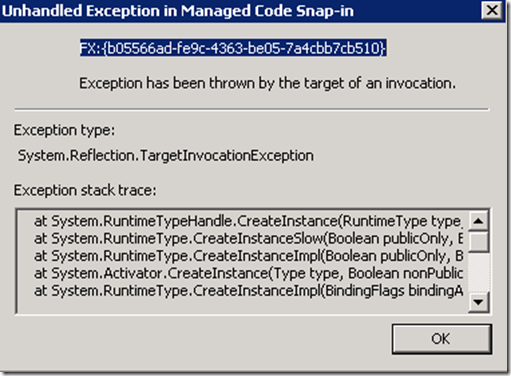 MMC has detected an error in a snap-in and will unload it