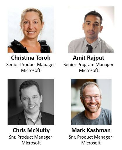 Left to right, top to bottom: Christina Torok – senior product manager (Stream/Microsoft) [guest], Amit Rajput – senior program manager (Live Events/Microsoft) [guest], Chris McNulty – senior product manager (SharePoint/Microsoft) [co-host] and Mark Kashman – senior product manager (SharePoint/Microsoft) [co-host].