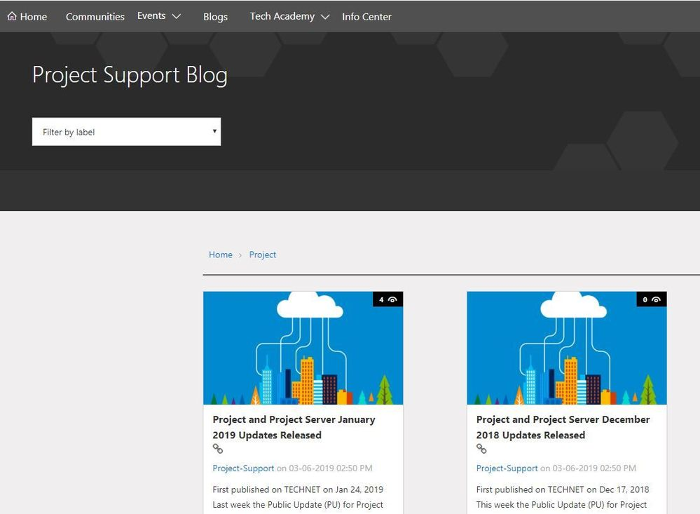 Screenshot of the new Project Support blog