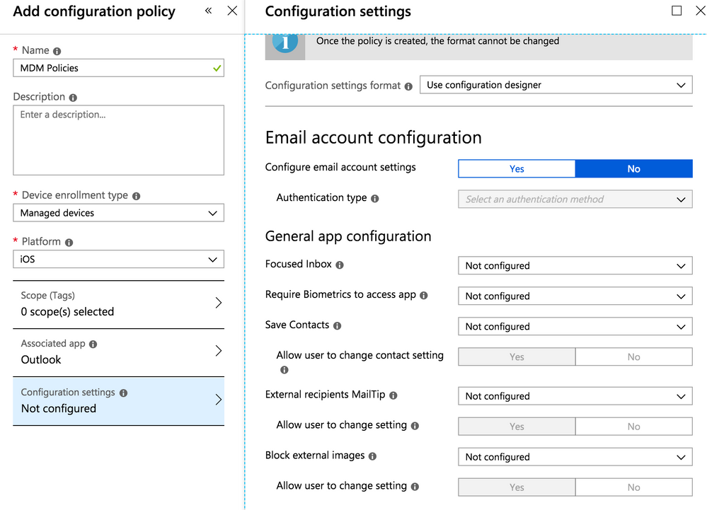 Microsoft Intune app configuration settings page for Outlook for iOS