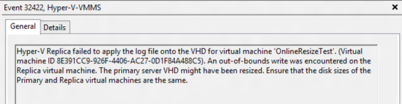 Online resize of virtual disks attached to replicating virtual machines