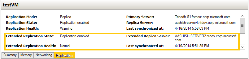 Replication Health-Windows Server 2012 R2