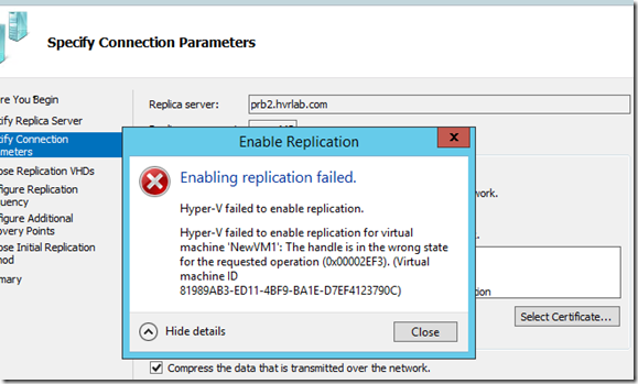 Hyper-V Replica Certificate based authentication and Proxy servers