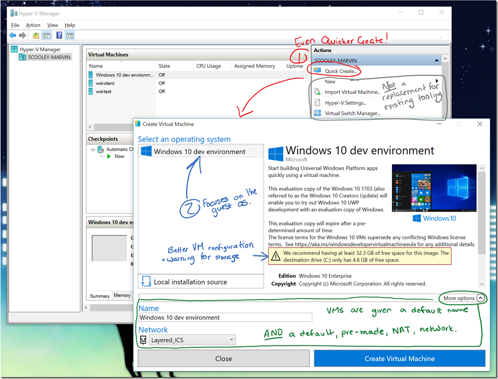 Hyper-V virtual machine gallery and networking improvements