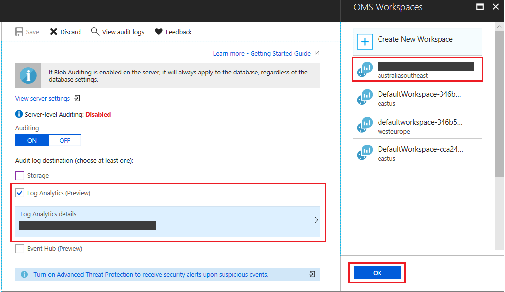 SQL Audit logs in Azure Log Analytics and Azure Event Hubs