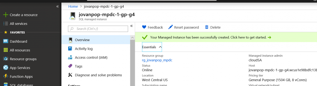 The easiest way to create Azure VM that can access your Azure SQL Managed Instance